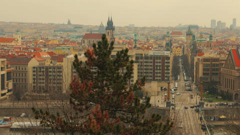 Wide Panoramic View in Prague, Czech Republic (Czechia) from Letna Park Footage