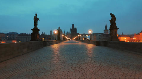 Walking the Charles Bridge at Dawn in Prague, Czech Republic (Czechia) Footage