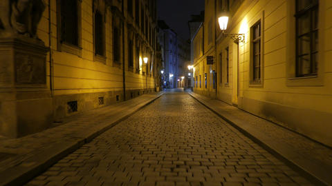 Walking Down the Cobbled Streets at Night in Prague, Czech Republic (Czechia) Footage