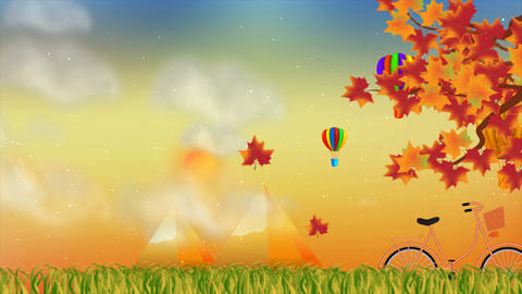 Beautiful autumn season with nature and balloon motion background Animation