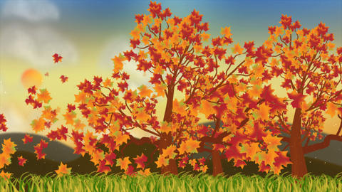 Beautiful autumn season with nature motion background Animación