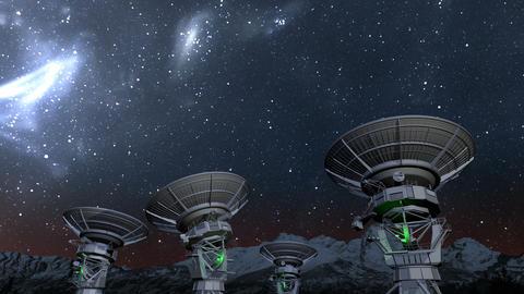 Radio telescope array night time-lapse CG動画
