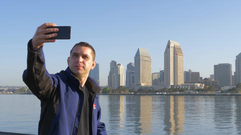 San Diego City selfie photo by a young adult male Footage