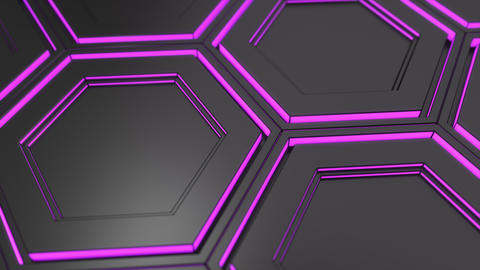Wall of black hexagons with purple glow Animation
