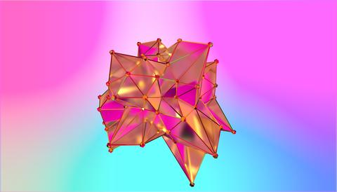 illustration of a shape metamorphosis of a polygonal semi transparent model Photo