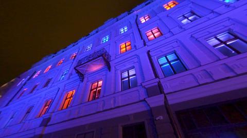 STARO RIGA light festival in Latvia, colorful Art Nouveau bulding installation Footage