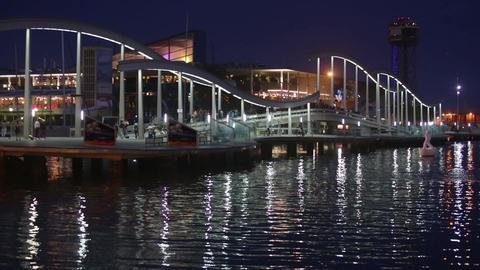 """Night view of """"Rambla de Mar"""", Barcelona Footage"""