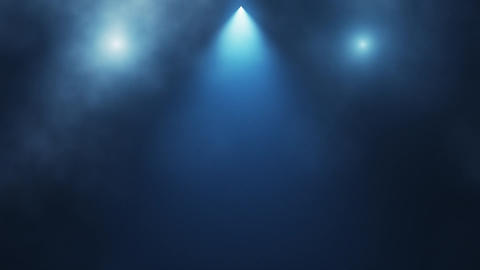 Blue Stage Lights and Smoke Intro Logo Background Animation