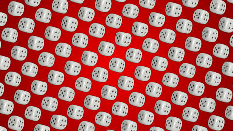 Dice cubes casino gambling red background Animation