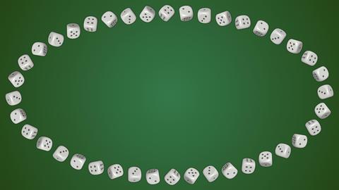 Dice cubes casino gambling green ellipse border frame... Stock Video Footage