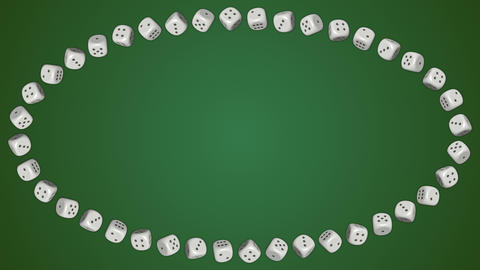 Dice cubes casino gambling green ellipse border frame background CG動画素材
