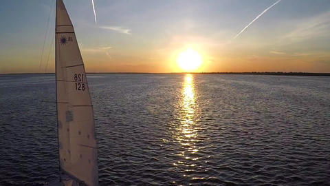 Sailboat Sailing During Sunset Footage