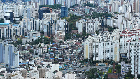 Aerial view Seoul City Skyline in Seoul,South Korea Live Action