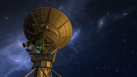 Radio telescope explores night sky Animation