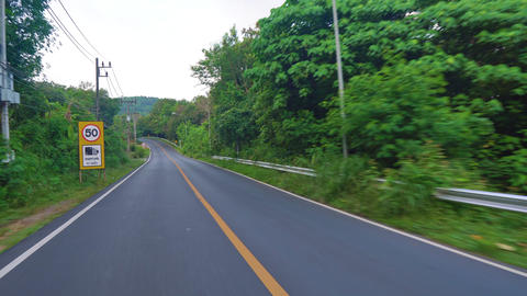 Riding on an asphalt road in a tropical country. palm trees along the road Footage