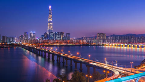 Timelapse at Seoul City Skyline, South Korea Footage