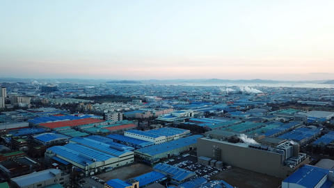 Aerial view Sunset of the industrial park.incheon Seoul,Korea Footage