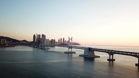 Gwangan Bridge and Haeundae aerial view at Busan City, South Korea Footage