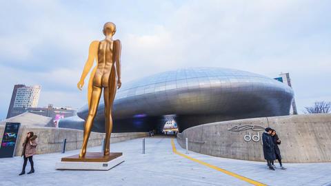 Dongdaemun Design Plaza in Seoul, South Korea Footage