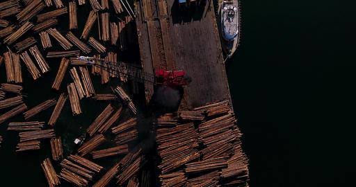 Crane Loading Logs Onto Barge Archivo