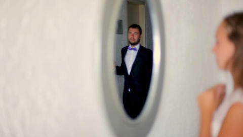 Wedding day. The bride and groom at the hotel on their... Stock Video Footage