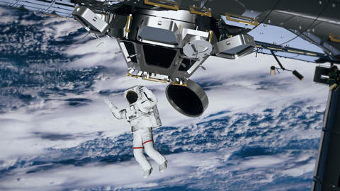 Astronaut Spacewalk, waving his hand in the open space. International Space 영상물