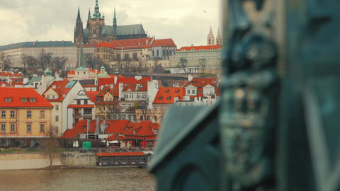 Castle Seen from Charles Bridge in Prague, Czech Republic (Czechia) Footage