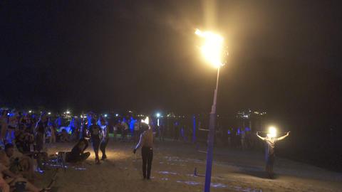 Nightly fireshow on Ko Phi Phi island in Thailand Footage