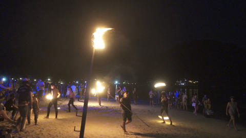 Nightly fireshow on Ko Phi Phi island in Thailand Footage