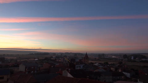 Panorama over the south of the city Astorga in Spain at sunset 00 Footage