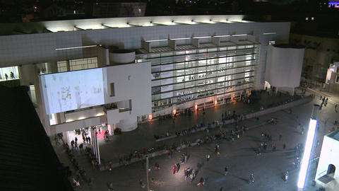 Contemporary Art Museum of Barcelona Facade at Night Footage