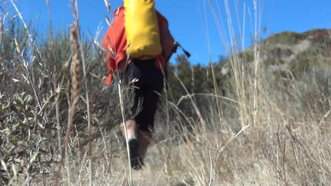 Tourist or pilgrim feet, walking on the path seen through the grass dry 70 Footage