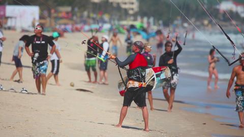 More kite surfers at Mui Ne beach Footage