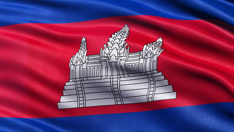 4K Cambodia flag seamless loop Animation