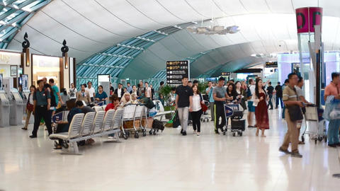 travelers at Bangkok airport Footage