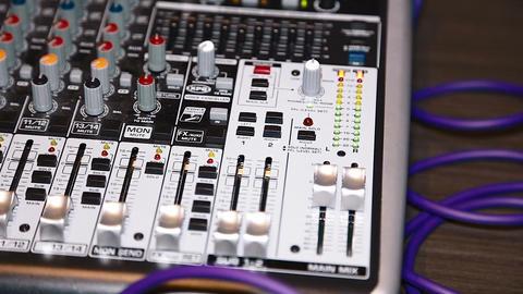 closeup - pan of sound mixer Footage