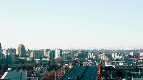 aerial of granville bridge traffic Footage