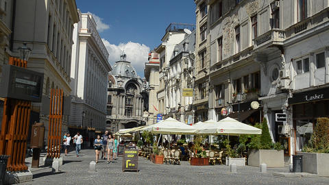 People Enjoy The First Day Of Autumn Downtown Lipscani Street In Bucharest stock footage