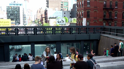 New York City 666 people on the High Line tribune in Chelsea Footage