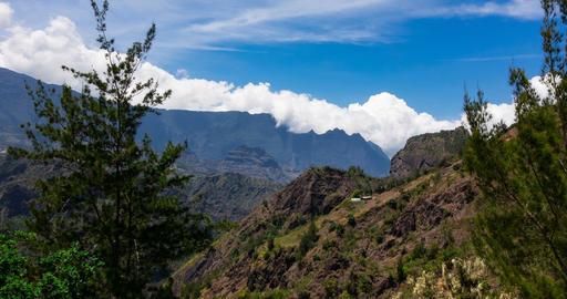 4K, Time Lapse, Epic Clouds At Mountain Range, Cilaos, Reunion Footage