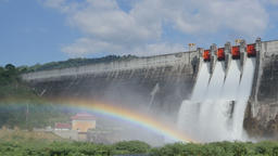 Water flow from the dam and rainbow Footage