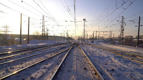 Railway. Winter Sunny morning Footage