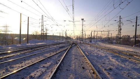 Railway. Winter Sunny morning 영상물