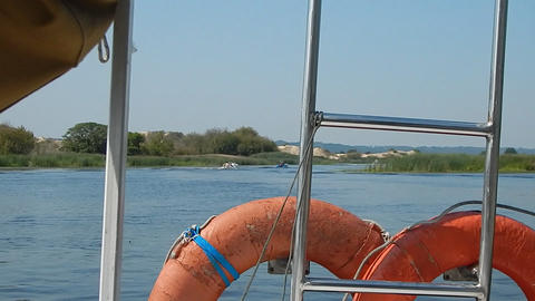 Travel of the river sail on the boat water and the panorama of the shore Footage