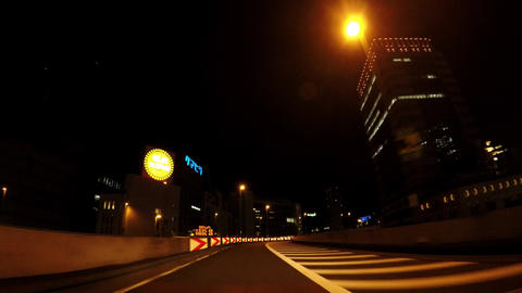 Japanese cityscape. Carving on the night capital highway ビデオ
