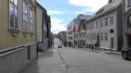 Europe Norway Karmsund Haugesund typical street view of a Norwegian small town Footage