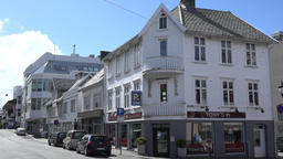 Europe Norway Karmsund Haugesund house corner in downtown Footage