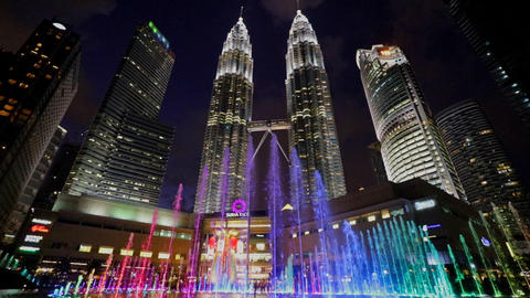 Colorful water lightshow in Kuala Lumpur Footage