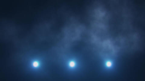 Blue Triple Stage Lights Below and Smoke VJ Loop Background Animation