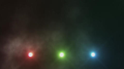Colorful Triple Stage Lights Below and Smoke VJ Loop Background V2 Animation